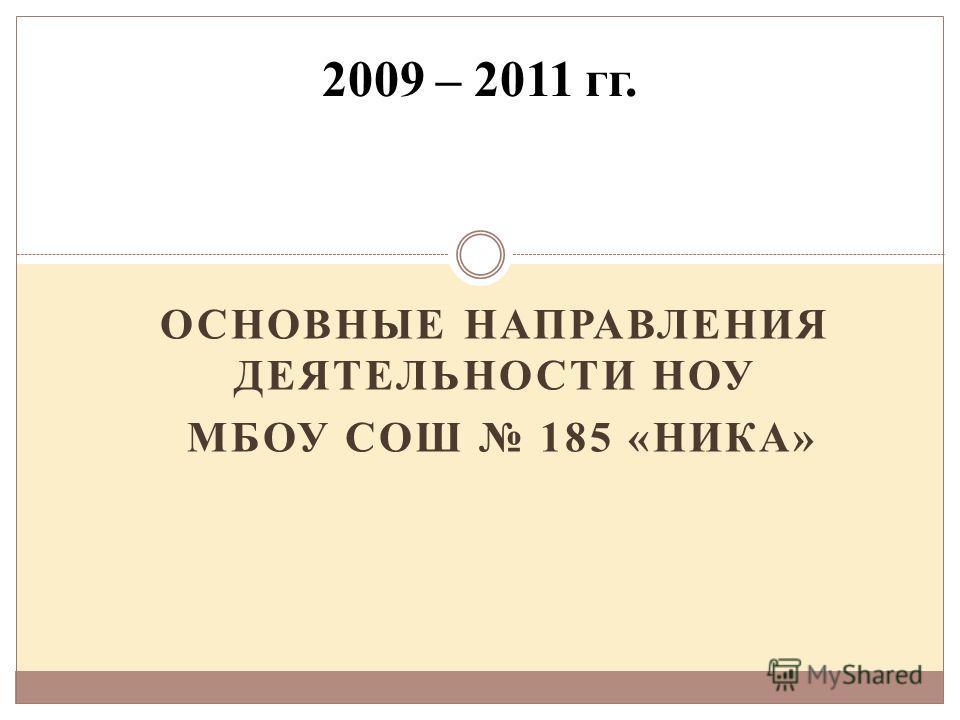 ОСНОВНЫЕ НАПРАВЛЕНИЯ ДЕЯТЕЛЬНОСТИ НОУ МБОУ СОШ 185 «НИКА» 2009 – 2011 гг.