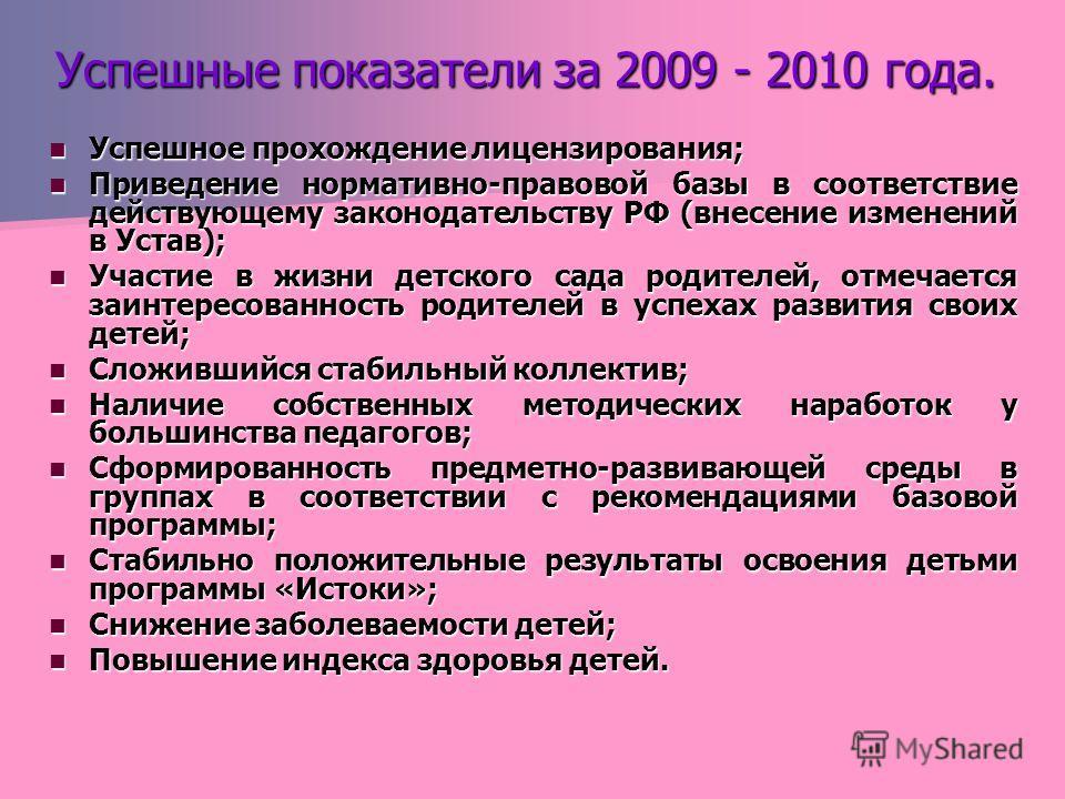 Успешные показатели за 2009 - 2010 года. Успешное прохождение лицензирования; Успешное прохождение лицензирования; Приведение нормативно-правовой базы в соответствие действующему законодательству РФ (внесение изменений в Устав); Приведение нормативно