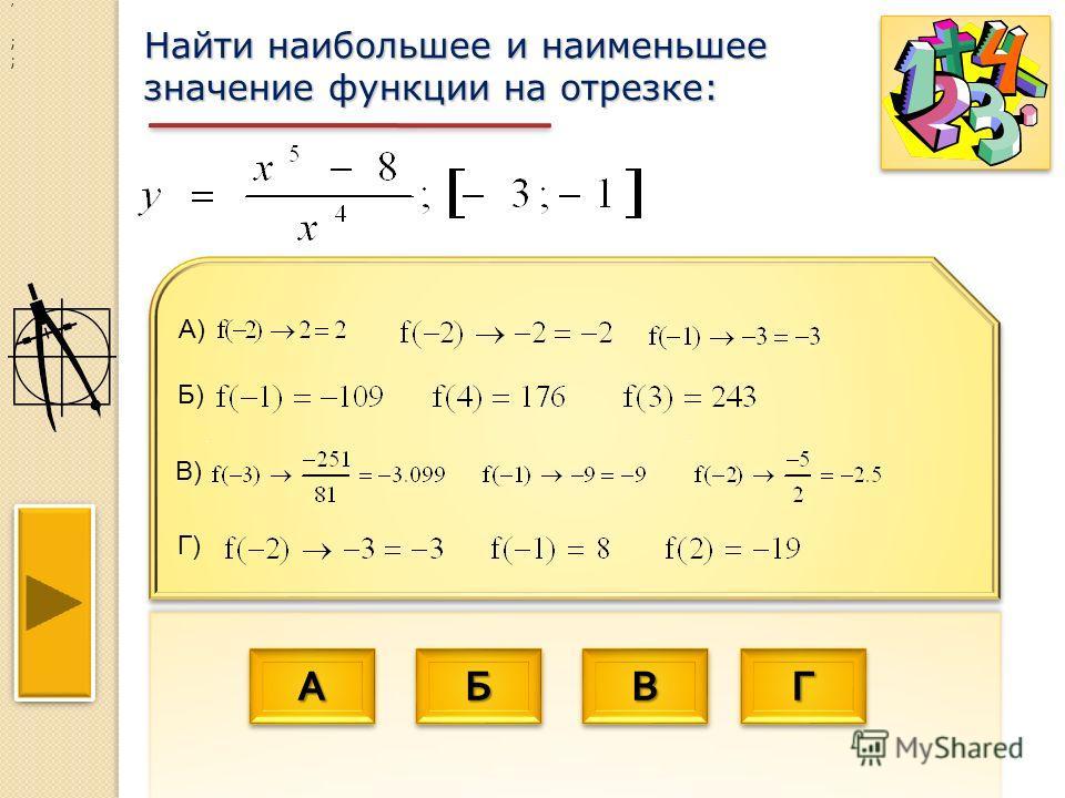 АААА АААА ББББ ББББ ВВВВ ВВВВ ГГГГ ГГГГ Найти наибольшее и наименьшее значение функции на отрезке: ; ; ; В) Б) Г) А)