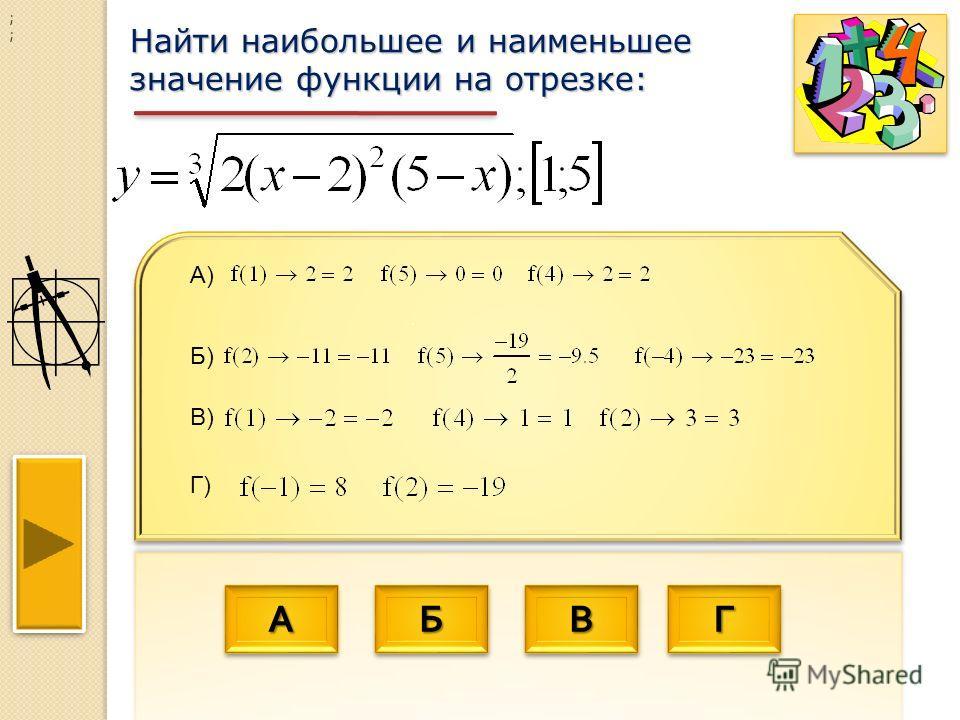 АААА АААА ББББ ББББ ВВВВ ВВВВ ГГГГ ГГГГ Найти наибольшее и наименьшее значение функции на отрезке: ; ; А) Г) В) Б)