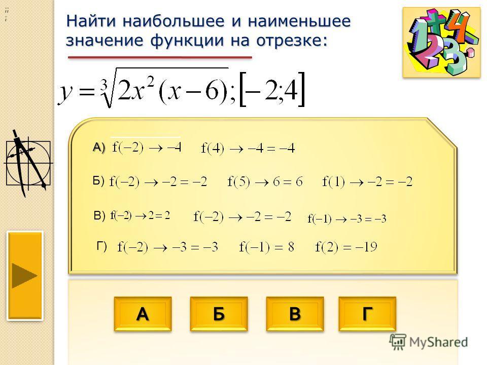 АААА АААА ББББ ББББ ВВВВ ВВВВ ГГГГ ГГГГ Найти наибольшее и наименьшее значение функции на отрезке: ;; ;А) Б) В) Г)