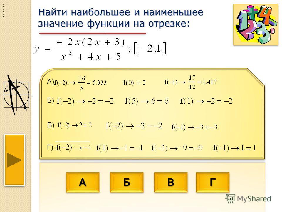 АААА АААА ББББ ББББ ВВВВ ВВВВ ГГГГ ГГГГ Найти наибольшее и наименьшее значение функции на отрезке: ; ; ; Г) Б) В) А)