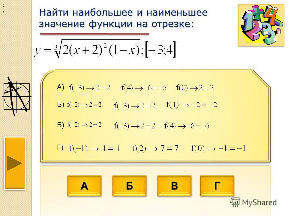 АААА АААА ББББ ББББ ВВВВ ВВВВ ГГГГ ГГГГ Найти наибольшее и наименьшее значение функции на отрезке: ; ; А) Г) Б) В)