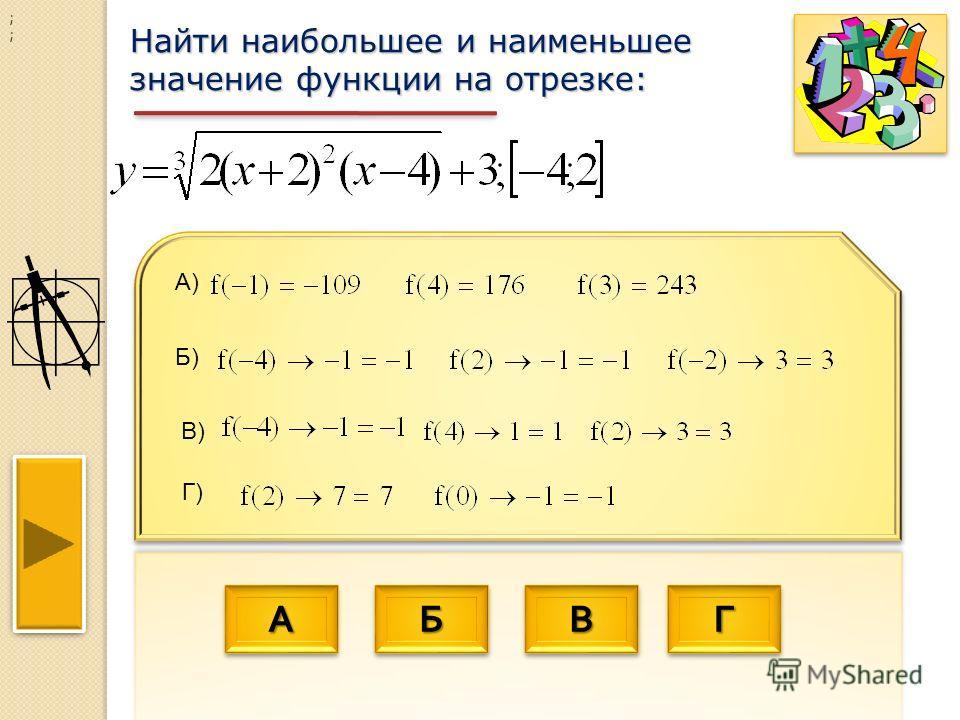 АААА АААА ББББ ББББ ВВВВ ВВВВ ГГГГ ГГГГ Найти наибольшее и наименьшее значение функции на отрезке: ; ; Б) А) Г) В)