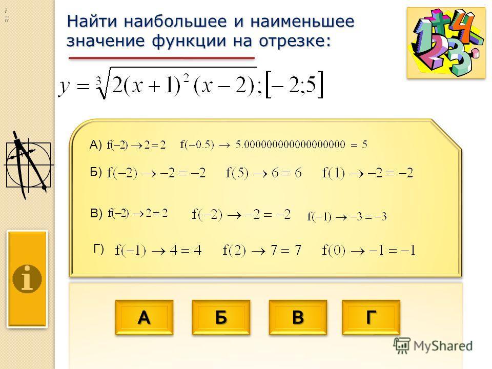 АААА АААА ББББ ББББ ВВВВ ВВВВ ГГГГ ГГГГ Найти наибольшее и наименьшее значение функции на отрезке: ; ;; Б) В) Г) А)