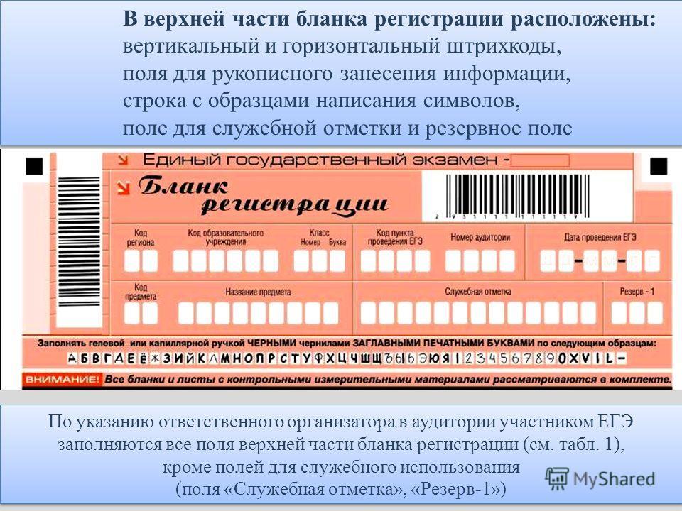 В верхней части бланка регистрации расположены: вертикальный и горизонтальный штрихкоды, поля для рукописного занесения информации, строка с образцами написания символов, поле для служебной отметки и резервное поле В верхней части бланка регистрации