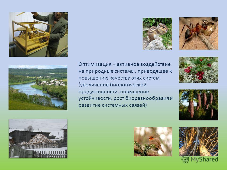 Оптимизация – активное воздействие на природные системы, приводящее к повышению качества этих систем (увеличение биологической продуктивности, повышение устойчивости, рост биоразнообразия и развитие системных связей)