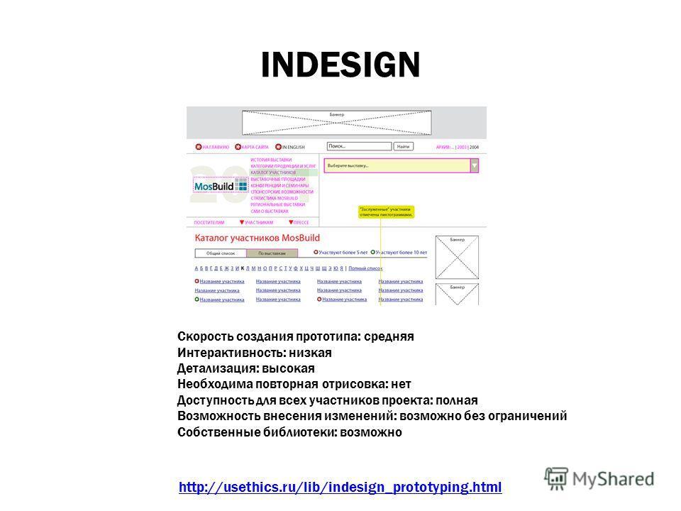 INDESIGN Среда http://usethics.ru/lib/indesign_prototyping.html Скорость создания прототипа: средняя Интерактивность: низкая Детализация: высокая Необходима повторная отрисовка: нет Доступность для всех участников проекта: полная Возможность внесения