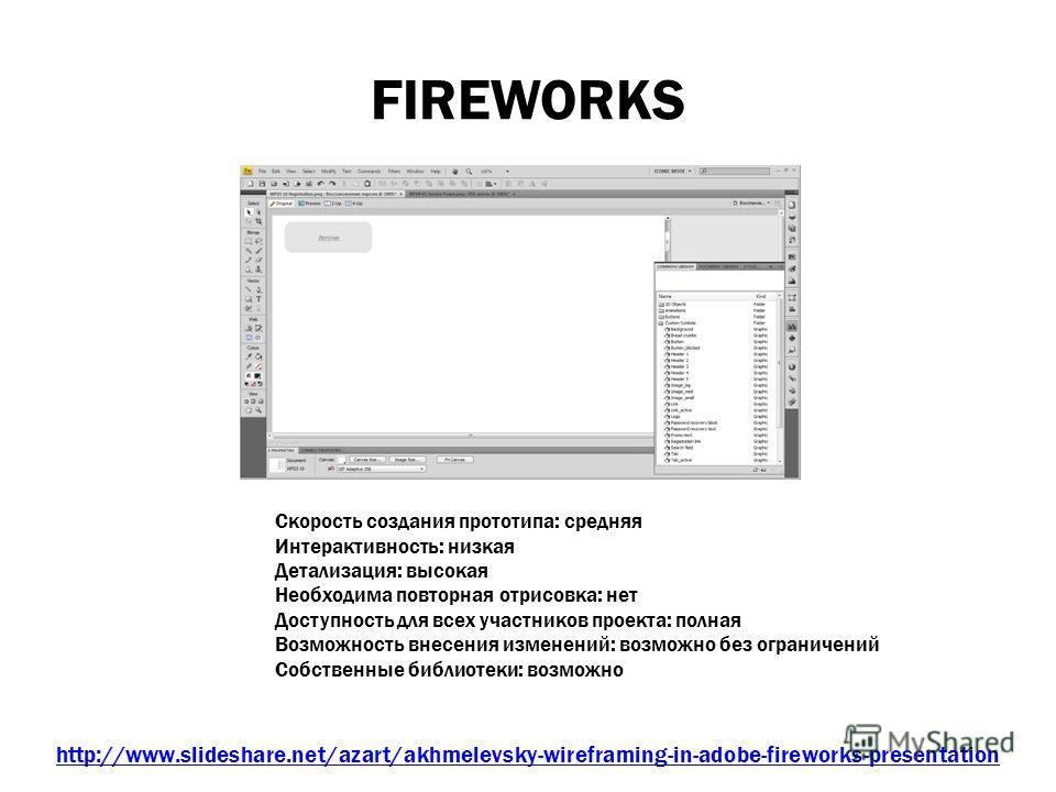 FIREWORKS Среда http://www.slideshare.net/azart/akhmelevsky-wireframing-in-adobe-fireworks-presentation Скорость создания прототипа: средняя Интерактивность: низкая Детализация: высокая Необходима повторная отрисовка: нет Доступность для всех участни