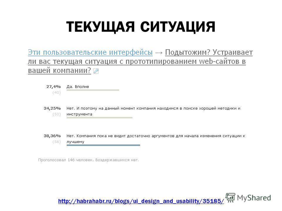 ТЕКУЩАЯ СИТУАЦИЯ http://habrahabr.ru/blogs/ui_design_and_usability/35185/