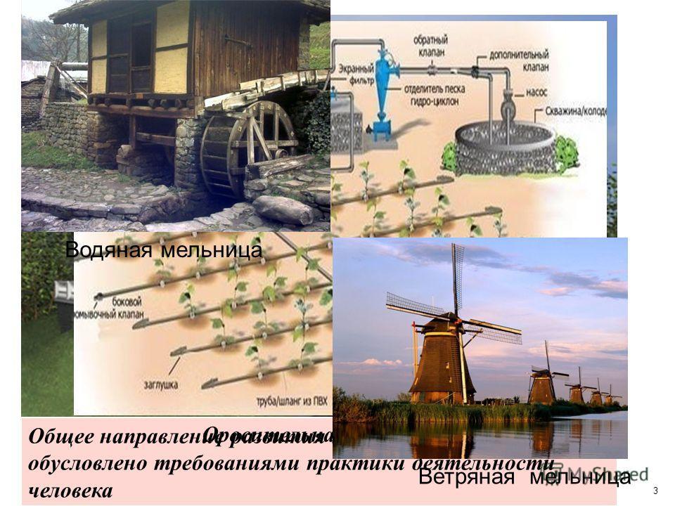 3 Общее направление развития науки обусловлено требованиями практики деятельности человека Оросительная система Водяная мельница Ветряная мельница