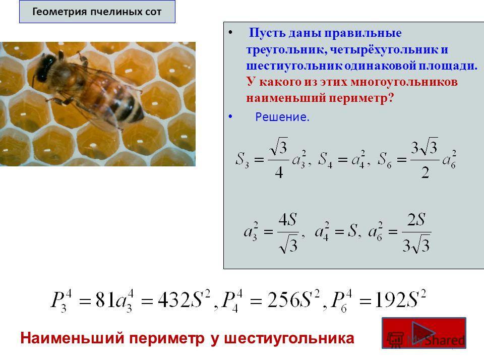 Геометрия пчелиных сот Пусть даны правильные треугольник, четырёхугольник и шестиугольник одинаковой площади. У какого из этих многоугольников наименьший периметр? Решение. 7 Наименьший периметр у шестиугольника