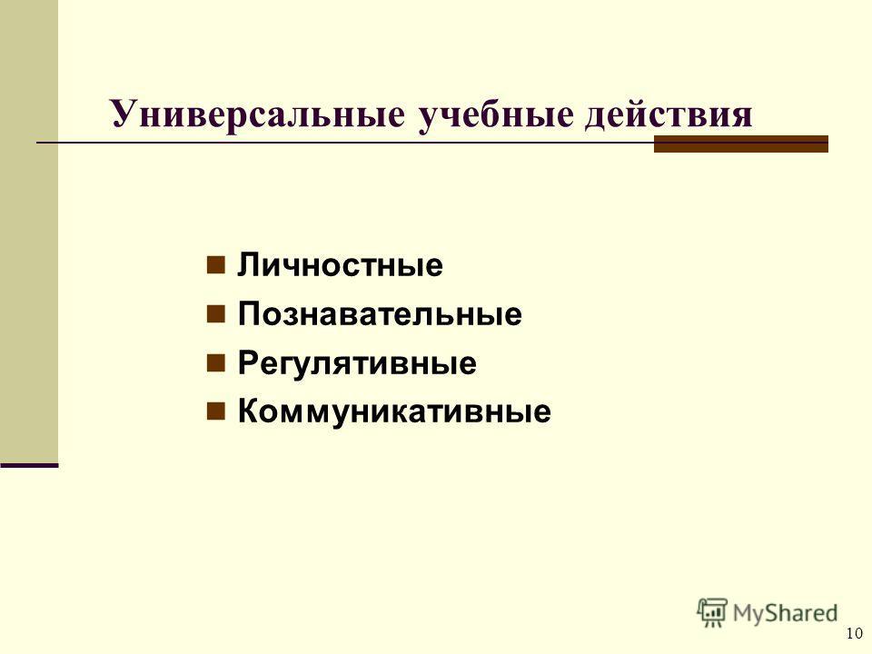 10 Универсальные учебные действия Личностные Познавательные Регулятивные Коммуникативные
