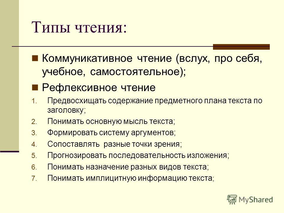 Типы чтения: Коммуникативное чтение (вслух, про себя, учебное, самостоятельное); Рефлексивное чтение 1. Предвосхищать содержание предметного плана текста по заголовку; 2. Понимать основную мысль текста; 3. Формировать систему аргументов; 4. Сопоставл