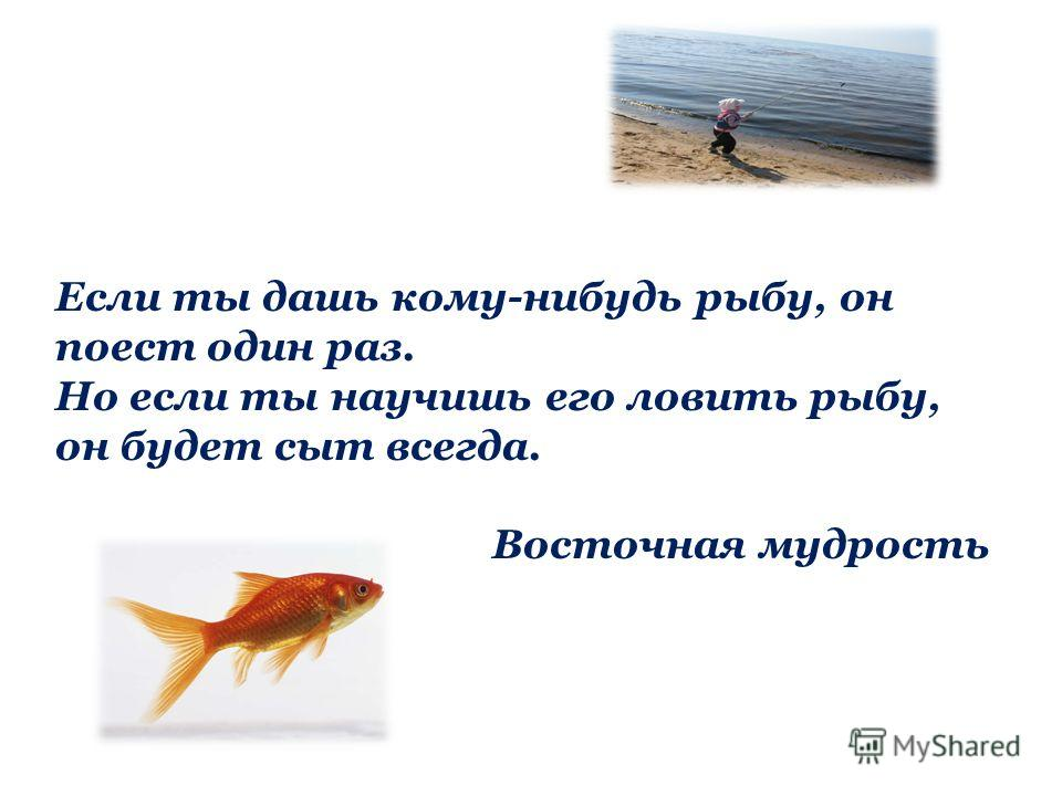 Если ты дашь кому-нибудь рыбу, он поест один раз. Но если ты научишь его ловить рыбу, он будет сыт всегда. Восточная мудрость