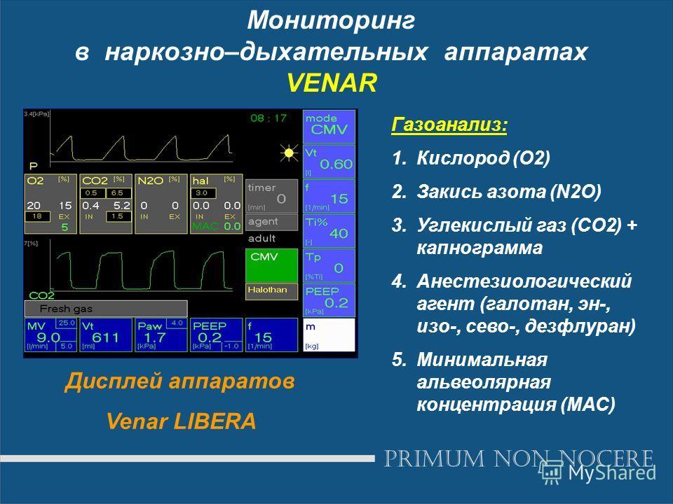 Мониторинг в наркозно–дыхательных аппаратах VENAR Дисплей аппаратов Venar LIBERA Газоанализ: 1.Кислород (О2) 2.Закись азота (N2O) 3.Углекислый газ (СО2) + капнограмма 4.Анестезиологический агент (галотан, эн-, изо-, сево-, дезфлуран) 5.Минимальная ал