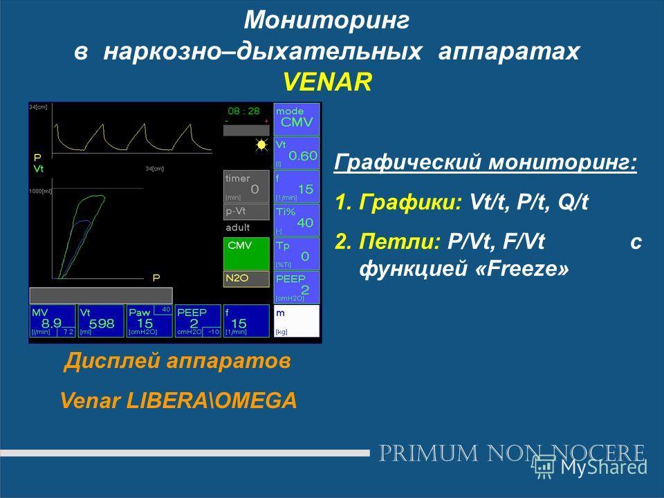 Мониторинг в наркозно–дыхательных аппаратах VENAR Дисплей аппаратов Venar LIBERA\OMEGA Графический мониторинг: 1.Графики: Vt/t, P/t, Q/t 2.Петли: P/Vt, F/Vt с функцией «Freeze»