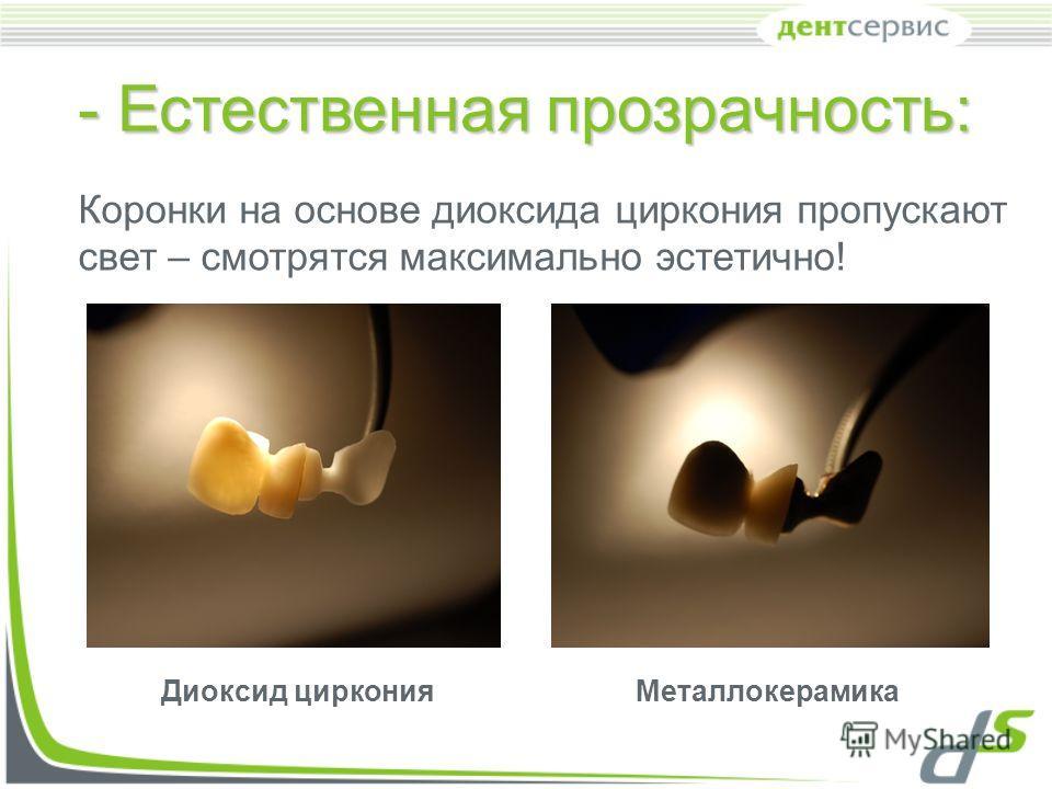 - Естественная прозрачность: Коронки на основе диоксида циркония пропускают свет – смотрятся максимально эстетично! Диоксид цирконияМеталлокерамика