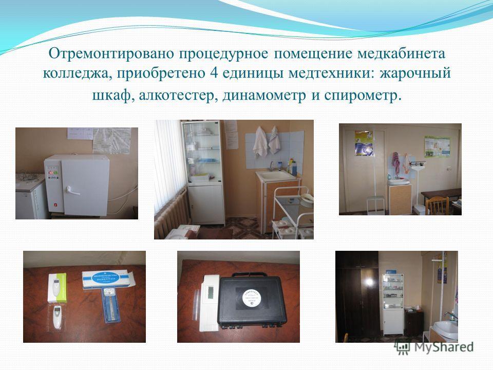 Отремонтировано процедурное помещение медкабинета колледжа, приобретено 4 единицы медтехники: жарочный шкаф, алкотестер, динамометр и спирометр.