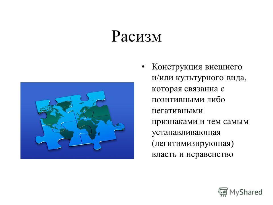 Расизм Конструкция внешнего и/или культурного вида, которая связанна с позитивными либо негативными признаками и тем самым устанавливающая (легитимизирующая) власть и неравенство