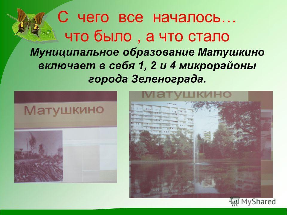 С чего все началось… что было, а что стало Муниципальное образование Матушкино включает в себя 1, 2 и 4 микрорайоны города Зеленограда.