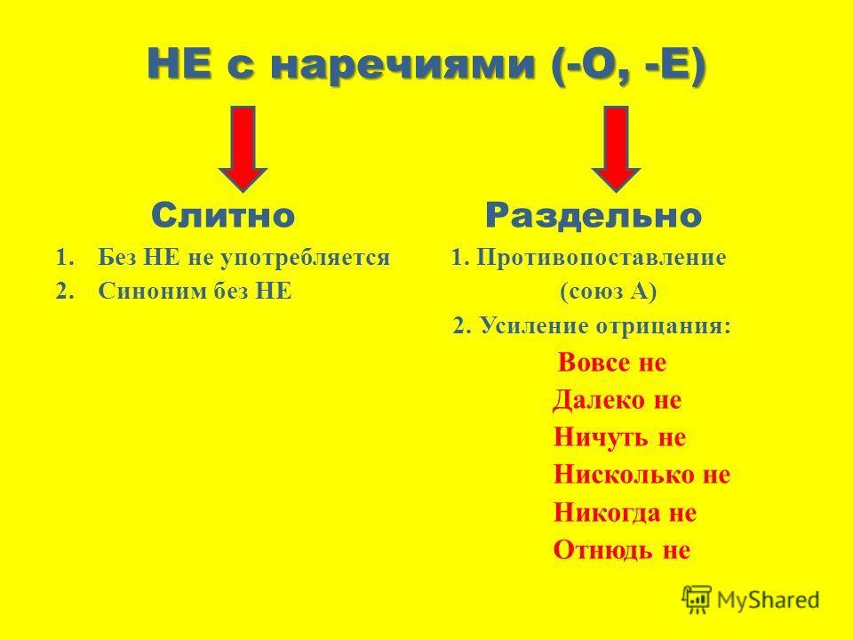 НЕ с наречиями (-О, -Е) Слитно Раздельно 1.Без НЕ не употребляется 1. Противопоставление 2.Синоним без НЕ (союз А) 2. Усиление отрицания: Вовсе не Далеко не Ничуть не Нисколько не Никогда не Отнюдь не