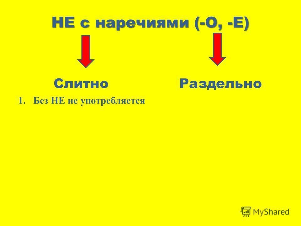 НЕ с наречиями (-О, -Е) Слитно Раздельно 1.Без НЕ не употребляется