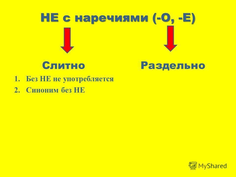 НЕ с наречиями (-О, -Е) Слитно Раздельно 1.Без НЕ не употребляется 2.Синоним без НЕ