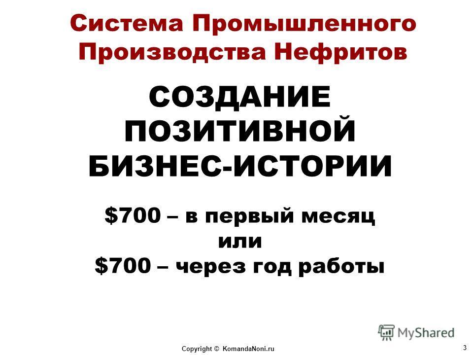 Copyright © KomandaNoni.ru 3 Система Промышленного Производства Нефритов СОЗДАНИЕ ПОЗИТИВНОЙ БИЗНЕС-ИСТОРИИ $700 – в первый месяц или $700 – через год работы