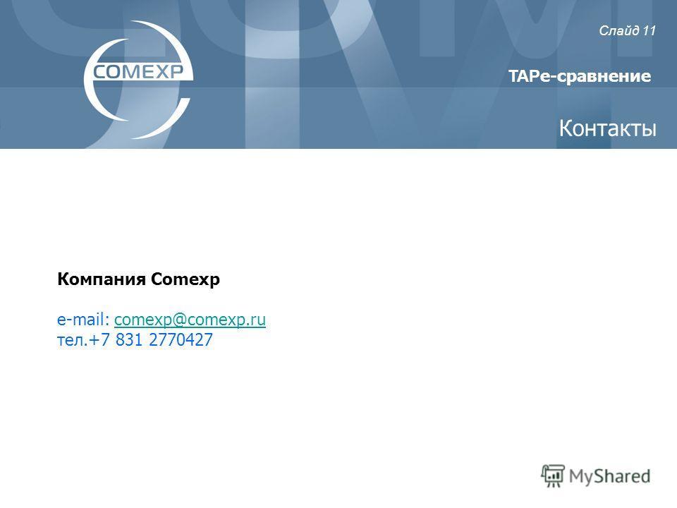 Компания Comexp e-mail: comexp@comexp.rucomexp@comexp.ru тел.+7 831 2770427 Контакты TAP e-сравнение Слайд 11