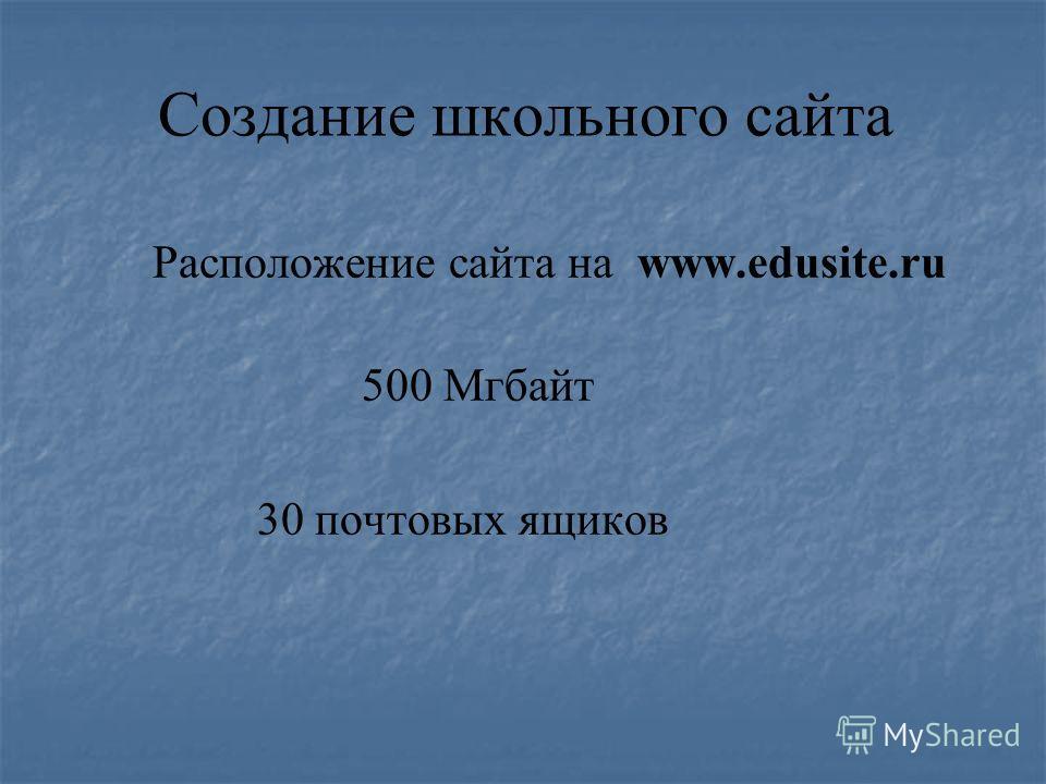 Создание школьного сайта Расположение сайта на www.edusite.ru 500 Мгбайт 30 почтовых ящиков