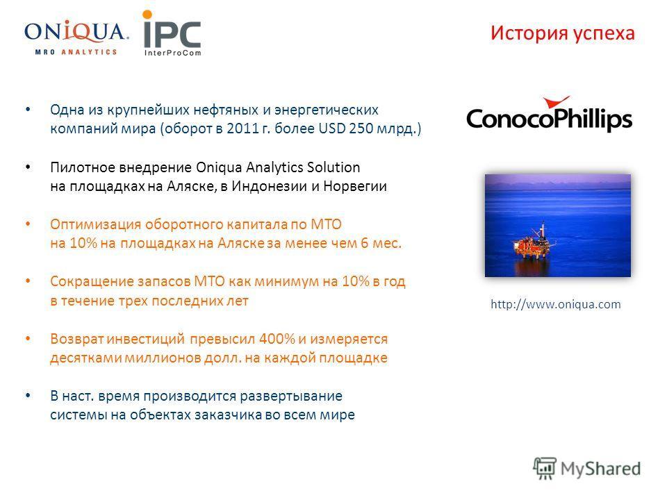 Одна из крупнейших нефтяных и энергетических компаний мира (оборот в 2011 г. более USD 250 млрд.) Пилотное внедрение Oniqua Analytics Solution на площадках на Аляске, в Индонезии и Норвегии Оптимизация оборотного капитала по МТО на 10% на площадках н