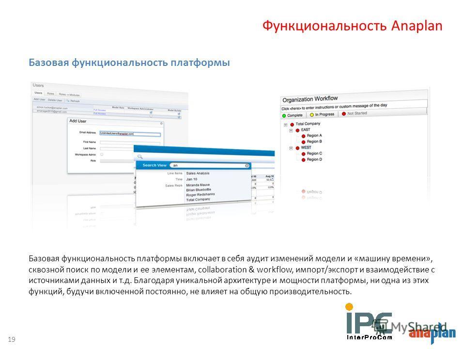 Базовая функциональность платформы включает в себя аудит изменений модели и «машину времени», сквозной поиск по модели и ее элементам, collaboration & workflow, импорт/экспорт и взаимодействие с источниками данных и т.д. Благодаря уникальной архитект
