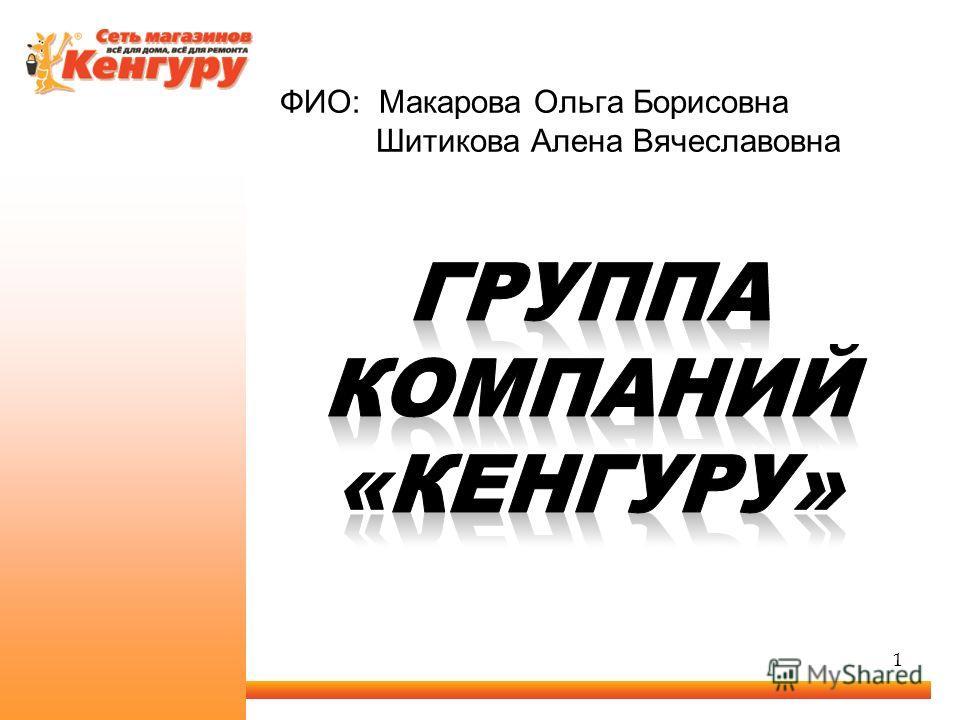 ФИО: Макарова Ольга Борисовна Шитикова Алена Вячеславовна 1