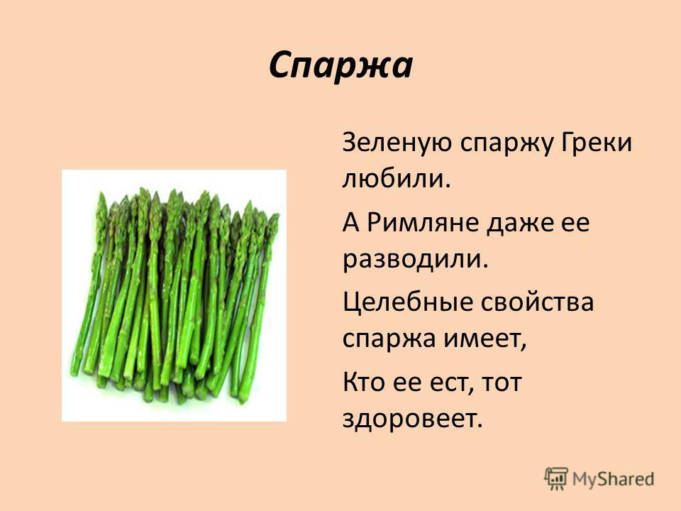 Спаржа Зеленую спаржу Греки любили. А Римляне даже ее разводили. Целебные свойства спаржа имеет, Кто ее ест, тот здоровеет.