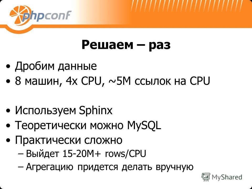Решаем – раз Дробим данные 8 машин, 4x CPU, ~5M ссылок на CPU Используем Sphinx Теоретически можно MySQL Практически сложно –Выйдет 15-20M+ rows/CPU –Агрегацию придется делать вручную