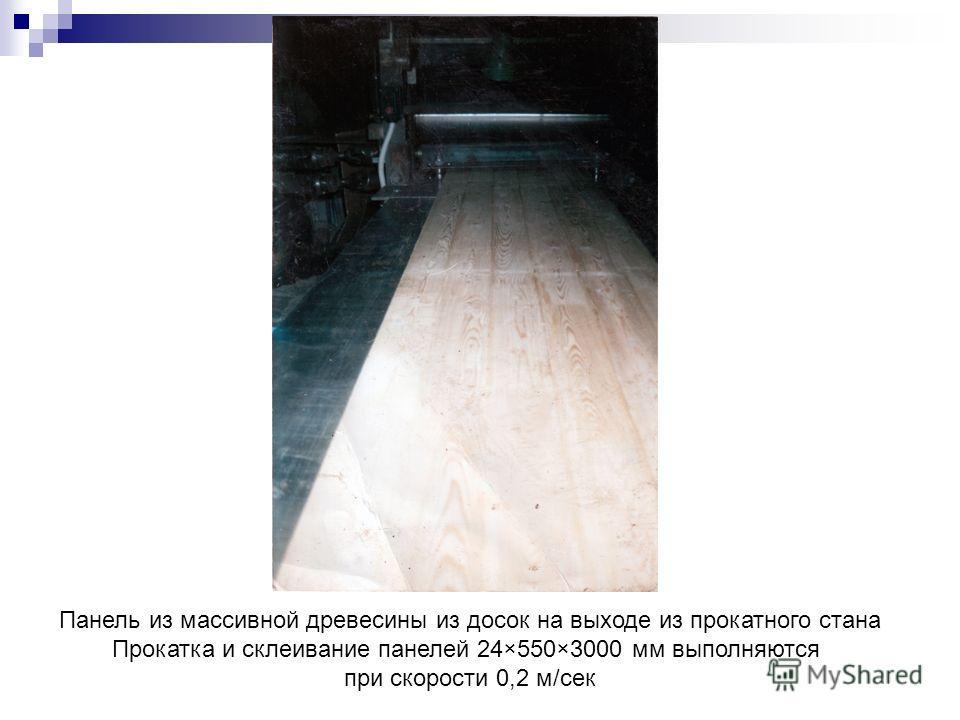 Панель из массивной древесины из досок на выходе из прокатного стана Прокатка и склеивание панелей 24×550×3000 мм выполняются при скорости 0,2 м/сек