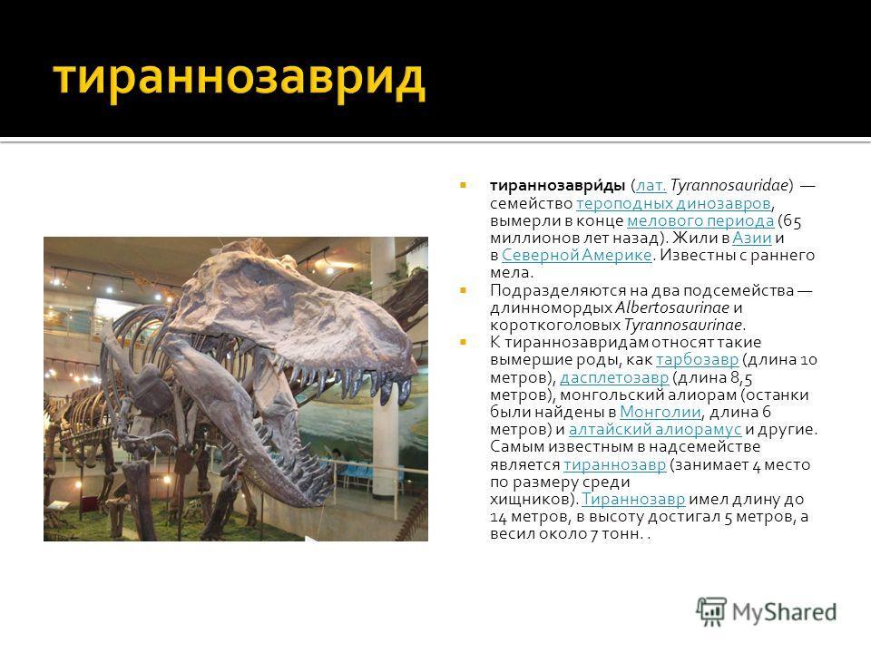 Как и другие тираннозавриды, тираннозавр был двуногим хищником с массивным черепом, который уравновешивался длинным, тяжёлым хвостом. По сравнению с большими и мощными задними конечностями этого ящера, его передние лапы были совсем небольшими, но, те