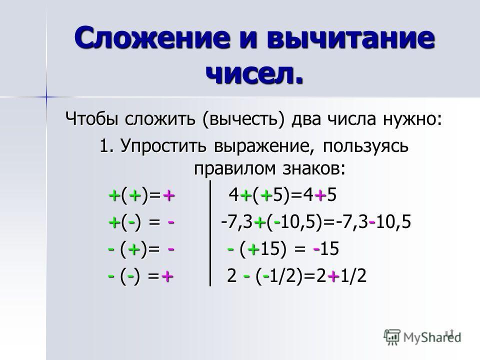 Сложение и вычитание чисел. Чтобы сложить (вычесть) два числа нужно: 1. Упростить выражение, пользуясь правилом знаков: +(+)=+ 4+(+5)=4+5 +(+)=+ 4+(+5)=4+5 +(-) = - -7,3+(-10,5)=-7,3-10,5 +(-) = - -7,3+(-10,5)=-7,3-10,5 - (+)= - - (+15) = -15 - (+)=