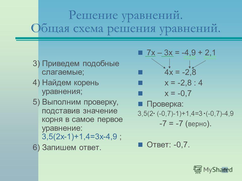 Решение уравнений. Общая схема решения уравнений. 3) Приведем подобные слагаемые; 4) Найдем корень уравнения; 5) Выполним проверку, подставив значение корня в самое первое уравнение: 3,5(2х-1)+1,4=3х-4,9 ; 6) Запишем ответ. 7х – 3х = -4,9 + 2,1 4х =