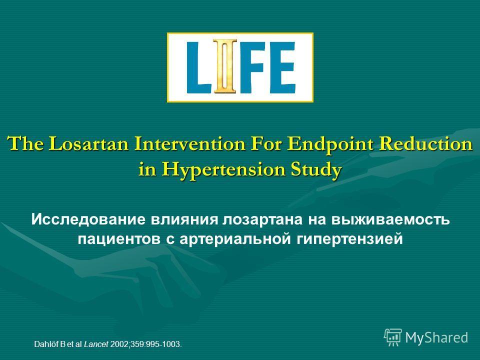 The Losartan Intervention For Endpoint Reduction in Hypertension Study Dahlöf B et al Lancet 2002;359:995-1003. Исследование влияния лозартана на выживаемость пациентов с артериальной гипертензией