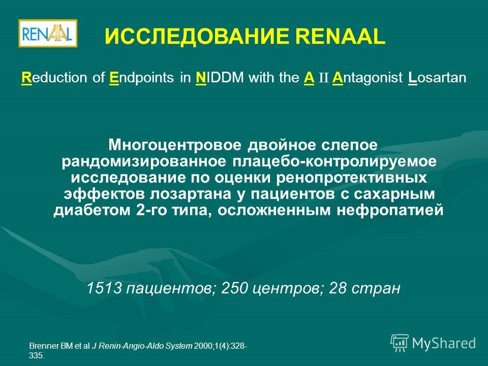 Многоцентровое двойное слепое рандомизированное плацебо-контролируемое исследование по оценки ренопротективных эффектов лозартана у пациентов с сахарным диабетом 2-го типа, осложненным нефропатией 1513 пациентов; 250 центров; 28 стран ИССЛЕДОВАНИЕ RE