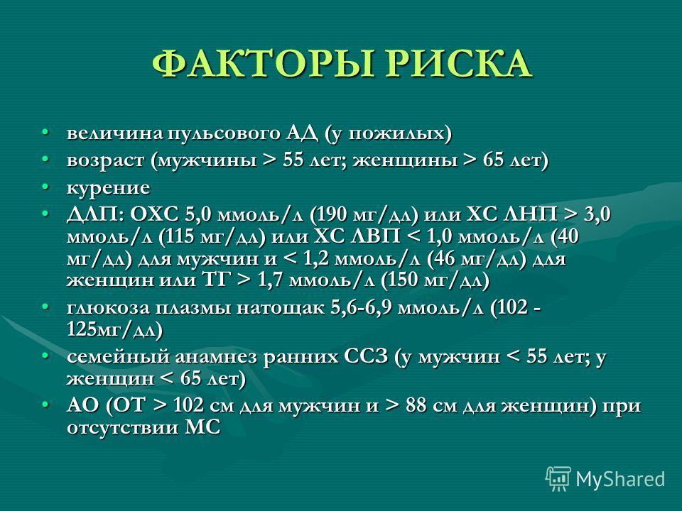 ФАКТОРЫ РИСКА величина пульсового АД (у пожилых)величина пульсового АД (у пожилых) возраст (мужчины > 55 лет; женщины > 65 лет)возраст (мужчины > 55 лет; женщины > 65 лет) курениекурение ДЛП: ОXС 5,0 ммоль/л (190 мг/дл) или ХС ЛНП > 3,0 ммоль/л (115