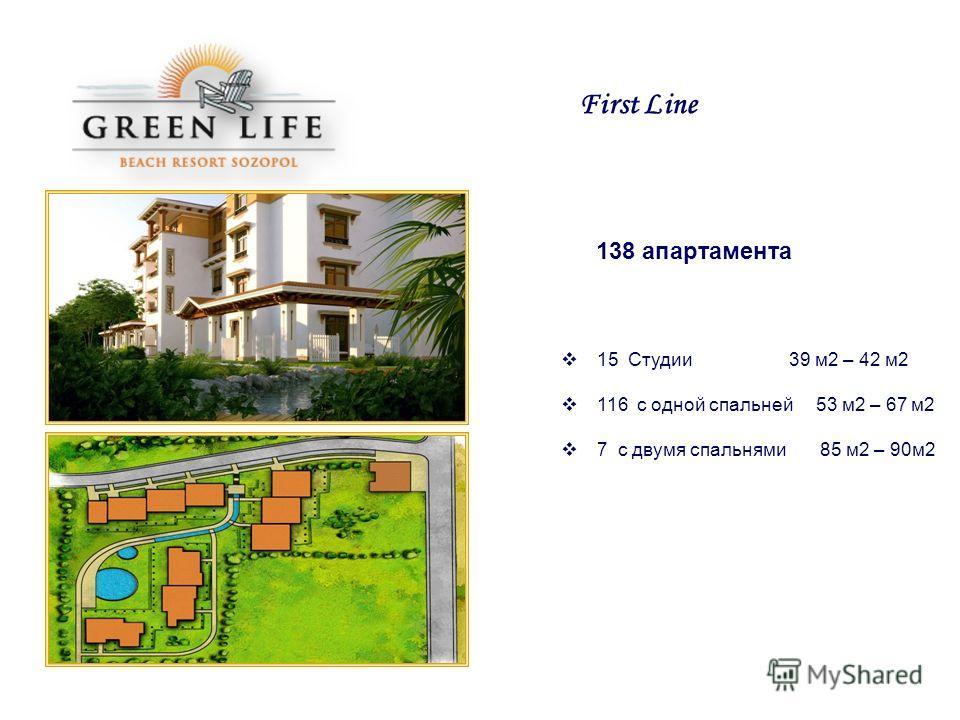 138 апартамента 15 Студии 39 м2 – 42 м2 116 с одной спальней 53 м2 – 67 м2 7 с двумя спальнями 85 м2 – 90м2