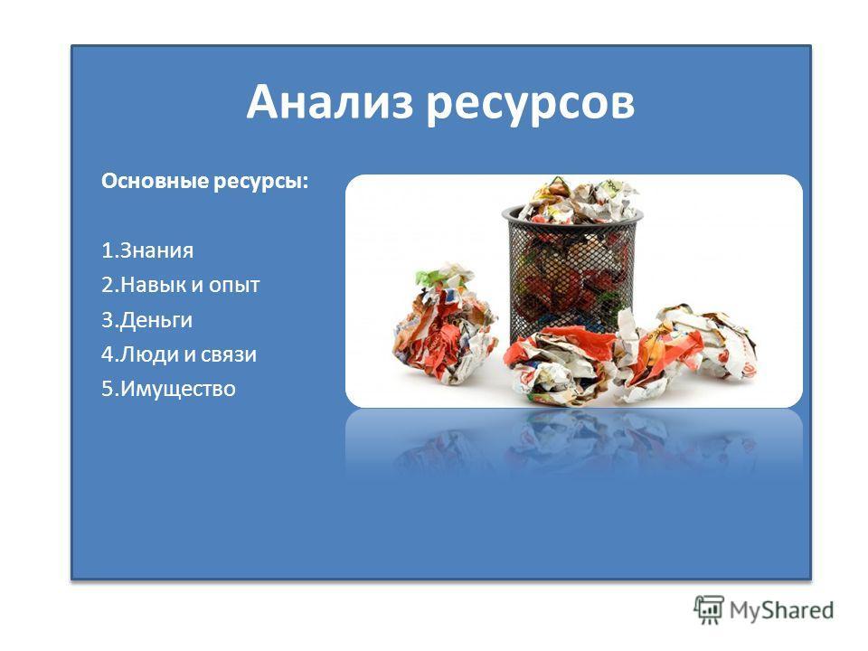 Анализ ресурсов Основные ресурсы: 1.Знания 2.Навык и опыт 3.Деньги 4.Люди и связи 5.Имущество