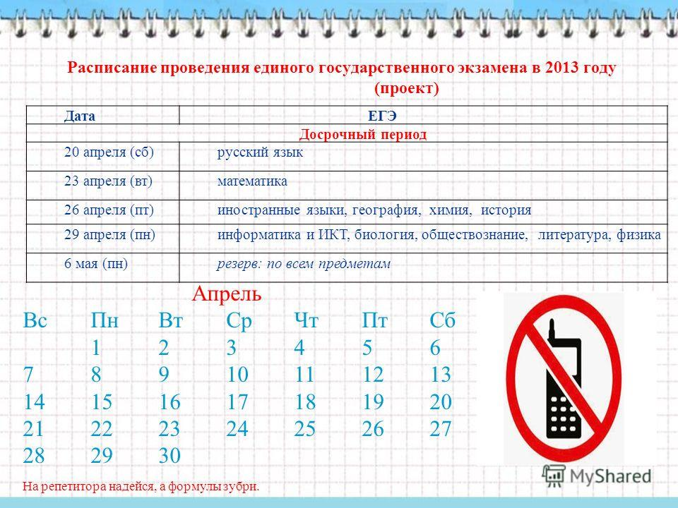 Апрель ВсПнВтСрЧтПтСб 123456 78910111213 14151617181920 21222324252627 282930 На репетитора надейся, а формулы зубри. Дата ЕГЭ Досрочный период 20 апреля (сб)русский язык 23 апреля (вт)математика 26 апреля (пт)иностранные языки, география, химия, ист
