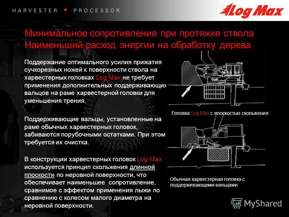 Минимальное сопротивление при протяжке ствола Наименьший расход энергии на обработку дерева Поддержание оптимального усилия прижатия сучкорезных ножей к поверхности ствола на харвестерных головках Log Max не требует применения дополнительных поддержи