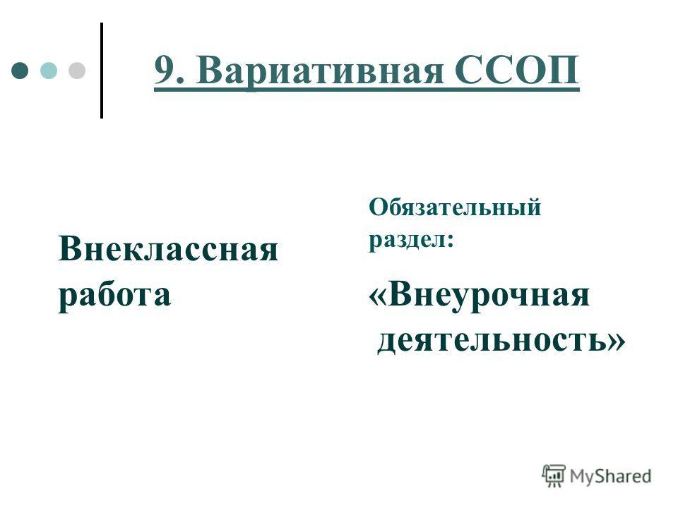 9. Вариативная ССОП Внеклассная работа Обязательный раздел: «Внеурочная деятельность»
