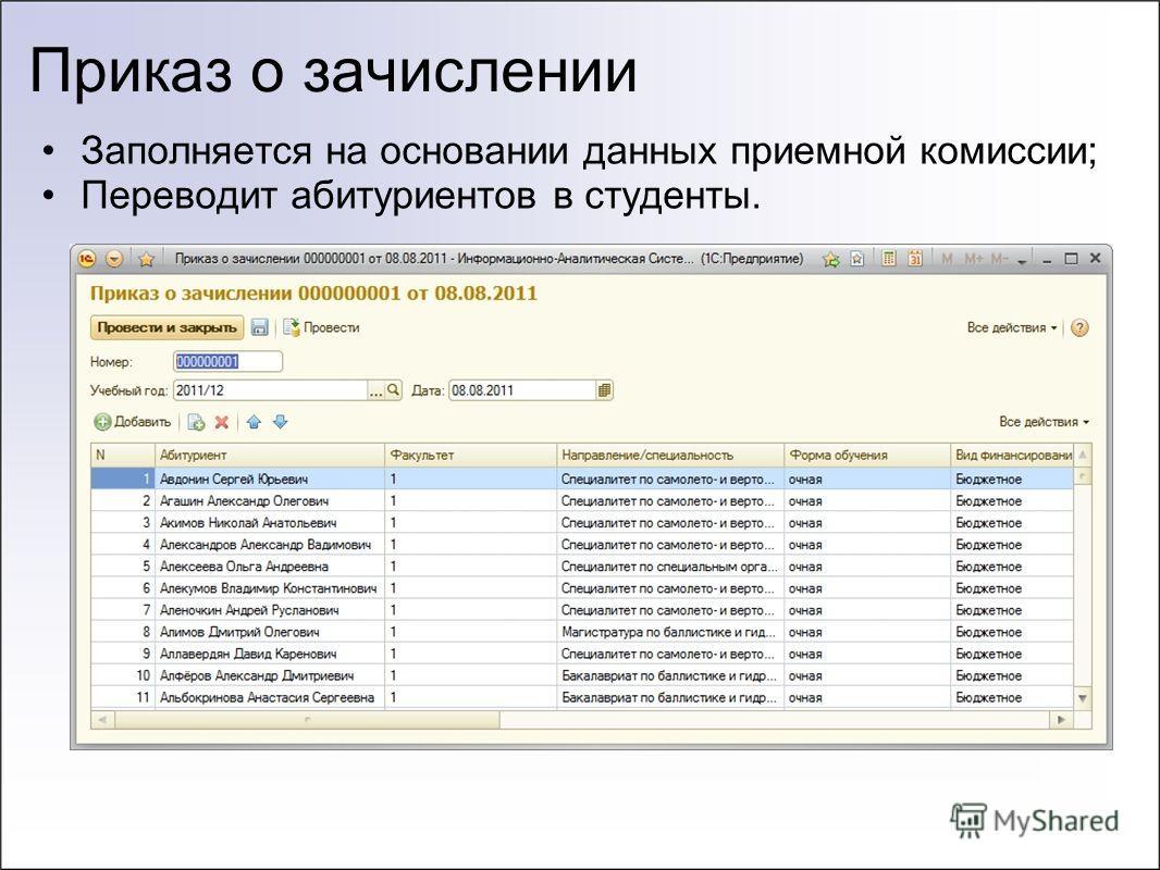 Приказ о зачислении Заполняется на основании данных приемной комиссии; Переводит абитуриентов в студенты.