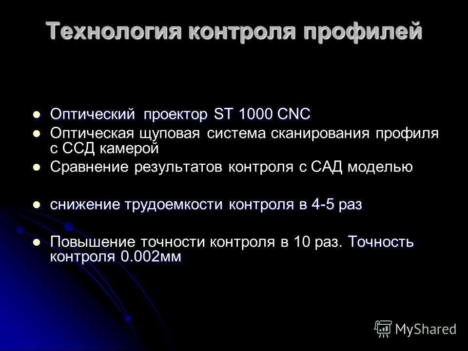 Технология контроля профилей Оптический проектор ST 1000 СNС Оптический проектор ST 1000 СNС Оптическая щуповая система сканирования профиля с ССД камерой Сравнение результатов контроля с САД моделью снижение трудоемкости контроля в 4-5 раз снижение